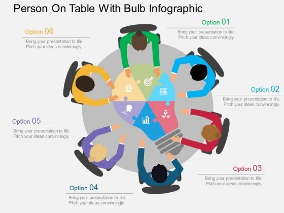 Person On Table With Bulb Infographic Powerpoint Templates