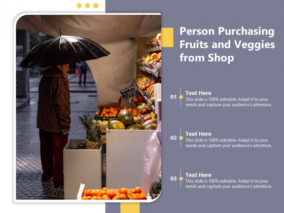 Person Purchasing Fruits And Veggies From Shop Ppt PowerPoint Presentation File Master Slide PDF