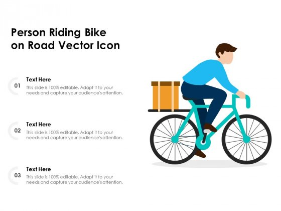 Person Riding Bike On Road Vector Icon Ppt PowerPoint Presentation Professional File Formats PDF