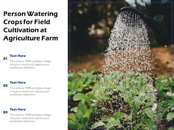 Person Watering Crops For Field Cultivation At Agriculture Farm Ppt PowerPoint Presentation Visual Aids Styles PDF