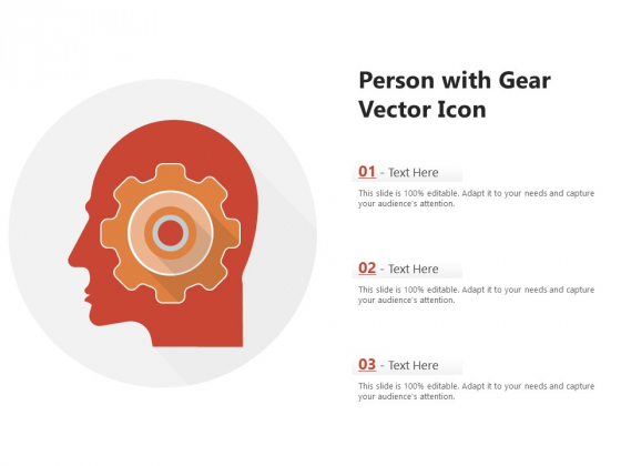 Person With Gear Vector Icon Ppt PowerPoint Presentation Gallery Outline PDF