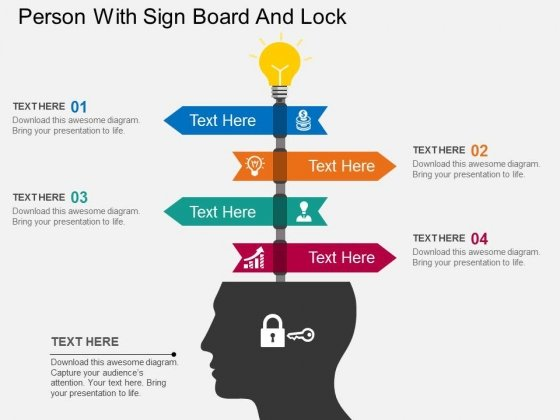 Person With Sign Board And Lock Powerpoint Template