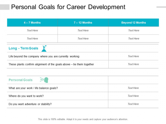 Personal Goals For Career Development Ppt PowerPoint Presentation Icon Brochure