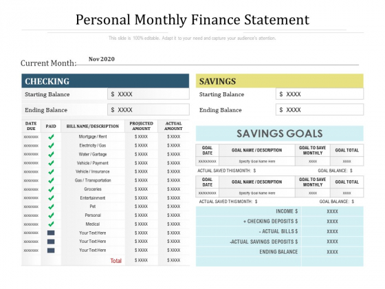 Personal Monthly Finance Statement Ppt PowerPoint Presentation Styles Visuals PDF