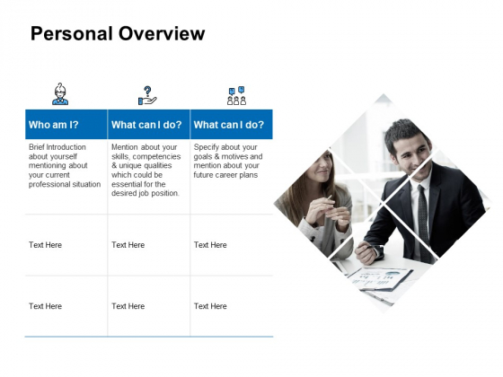 Personal Overview Marketing Ppt PowerPoint Presentation Layouts Graphics Pictures