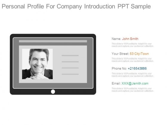 Personal Profile For Company Introduction Ppt Sample