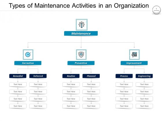 Pharmaceutical Management Types Of Maintenance Activities In An Organization Ppt Professional Aids PDF
