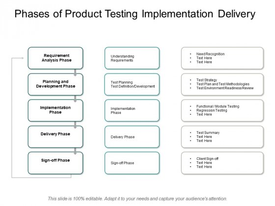 Phases Of Product Testing Implementation Delivery Ppt PowerPoint Presentation Professional Layout Ideas