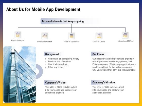 Phone Application Buildout About Us For Mobile App Development Ppt PowerPoint Presentation File Topics PDF