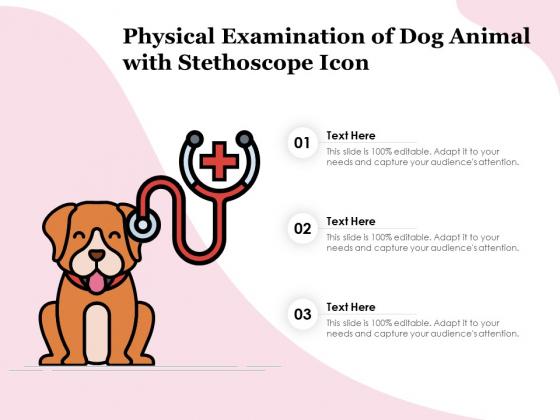 Physical Examination Of Dog Animal With Stethoscope Icon Ppt PowerPoint Presentation Summary Icons PDF