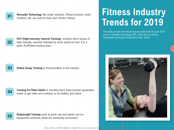 Physical Trainer Fitness Industry Trends For 2019 Mockup PDF