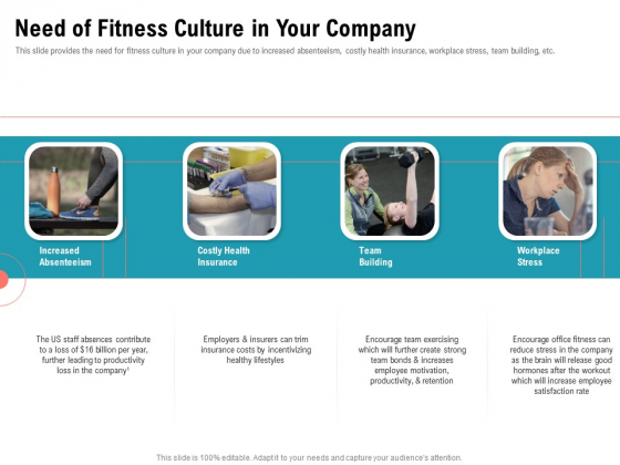 Physical Trainer Need Of Fitness Culture In Your Company Brochure PDF
