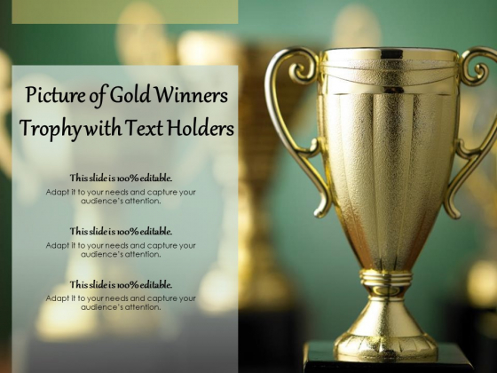 Picture Of Gold Winners Trophy With Text Holders Ppt PowerPoint Presentation Infographic Template Format Ideas