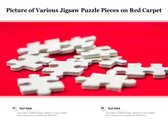 Picture Of Various Jigsaw Puzzle Pieces On Red Carpet Ppt PowerPoint Presentation Styles Layouts PDF