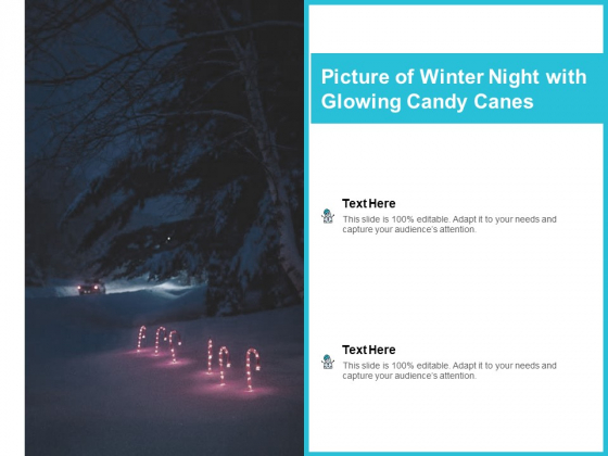 Picture Of Winter Night With Glowing Candy Canes Ppt PowerPoint Presentation Pictures Slides