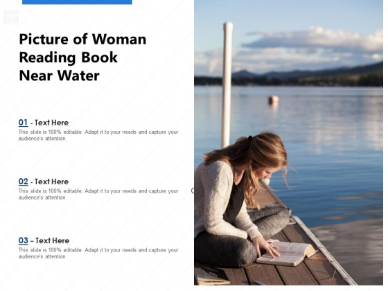 Picture Of Woman Reading Book Near Water Ppt PowerPoint Presentation Portfolio Clipart Images PDF