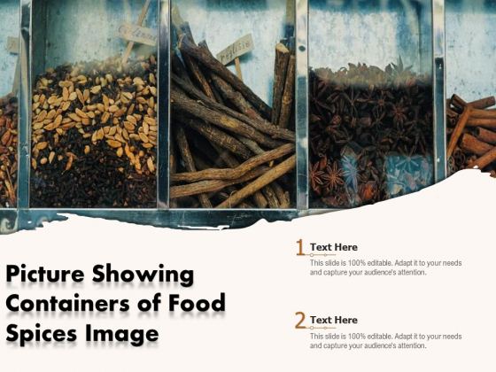 Picture Showing Containers Of Food Spices Image Ppt PowerPoint Presentation Outline Layout Ideas PDF