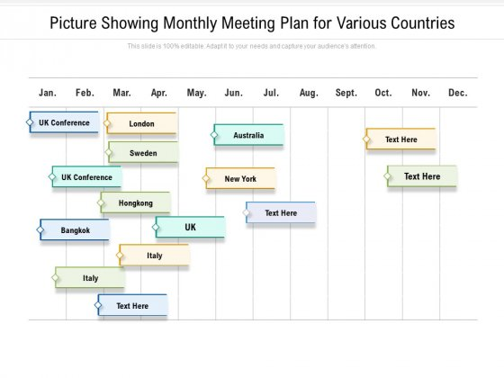 Picture Showing Monthly Meeting Plan For Various Countries Ppt PowerPoint Presentation Portfolio Tips PDF