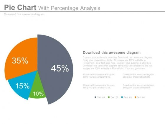 Pie Chart Dashboard Style For Percentage Analysis Powerpoint Slides