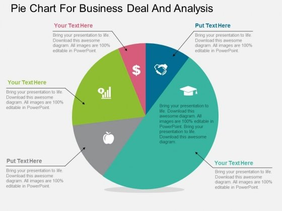 Pie Chart For Business Deal And Analysis Powerpoint Template