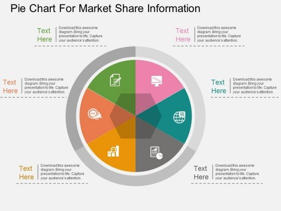 Pie Chart For Market Share Information Powerpoint Template