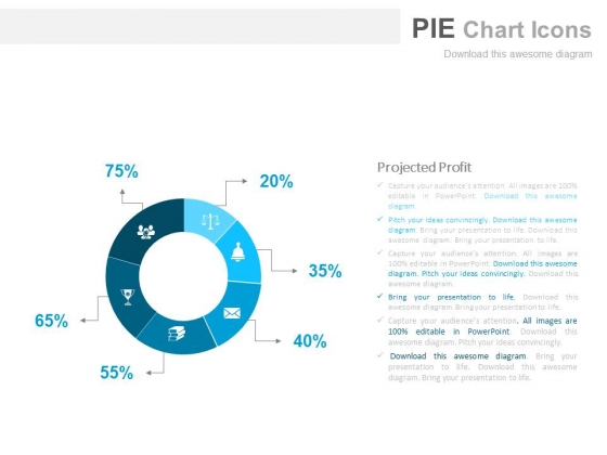 Pie Chart For Projected Profit Report Powerpoint Slides