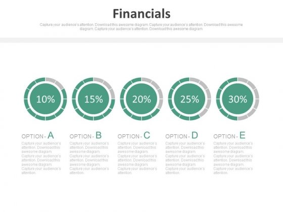 Pie Charts For Percentage Value Analysis Powerpoint Slides