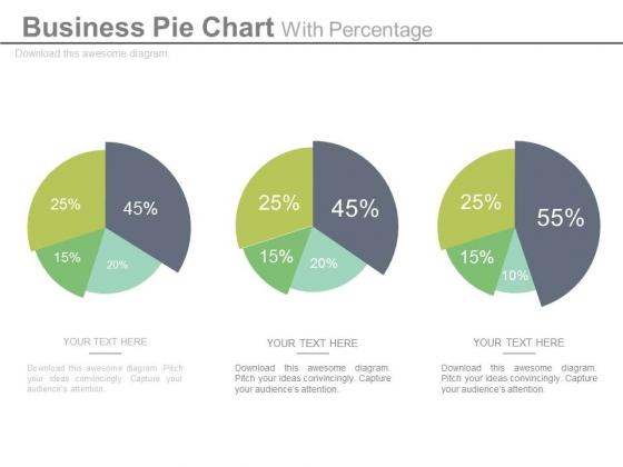 Pie Charts For Relative Comparison Study Powerpoint Slides