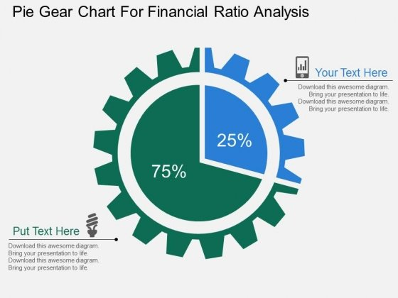 Pie Gear Chart For Financial Ratio Analysis Powerpoint Templates