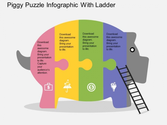 Piggy Puzzle Infographic With Ladder Powerpoint Template