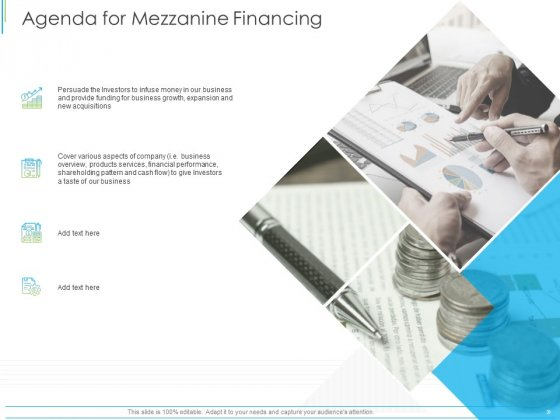 Pitch Deck For Mezzanine Financing Agenda For Mezzanine Financing Ppt Professional Visuals PDF