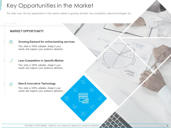 Pitch Deck For Mezzanine Financing Key Opportunities In The Market Ppt Icon Grid PDF