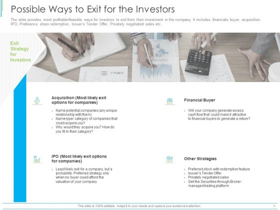 Pitch Deck For Mezzanine Financing Possible Ways To Exit For The Investors Ppt Inspiration Gridlines PDF