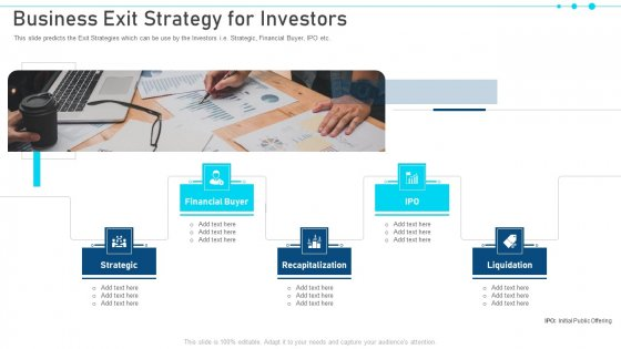 Pitch Deck For Raising Capital From Business Finances Business Exit Strategy For Investors Background PDF