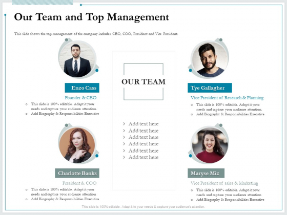 Pitch Deck For Raising Funds From Product Crowdsourcing Our Team And Top Management Elements PDF