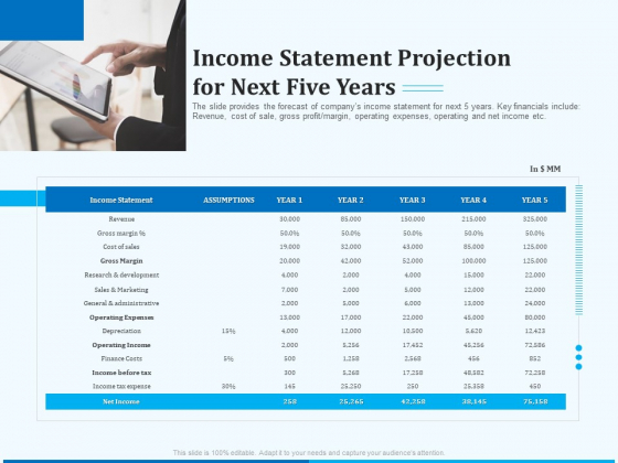 Pitch Deck For Seed Financing Income Statement Projection For Next Five Years Template PDF