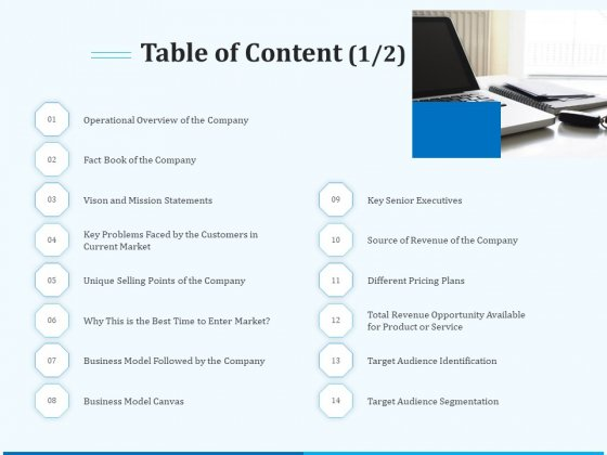 Pitch Deck For Seed Financing Table Of Content Business Ppt Clipart PDF