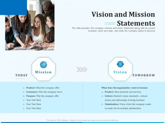 Pitch Deck For Seed Financing Vision And Mission Statements Ppt File Samples PDF