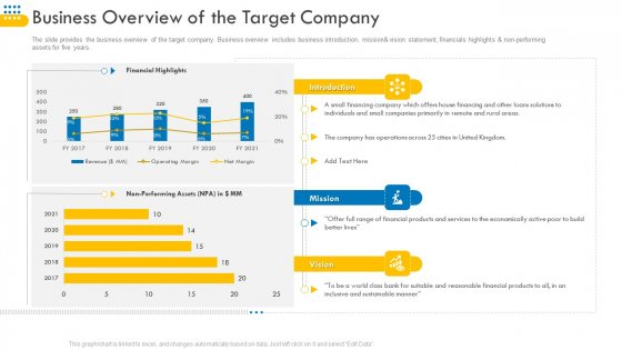 Pitch_Deck_For_Venture_Selling_Trade_Business_Overview_Of_The_Target_Company_Template_PDF_Slide_1