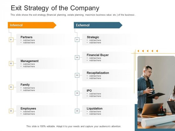 Pitch Deck Raise Capital Interim Financing Investments Exit Strategy Of The Company Pictures PDF