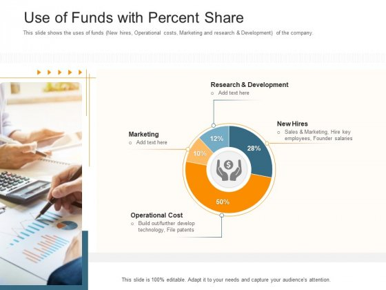 Pitch Deck Raise Capital Interim Financing Investments Use Of Funds With Percent Share Download PDF