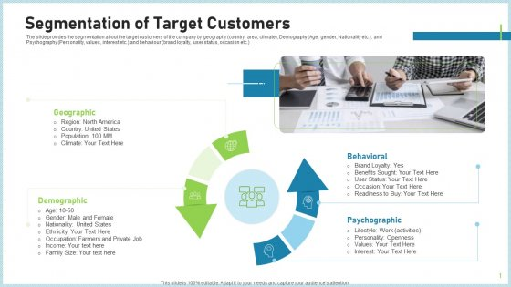 Pitch Deck To Attract Funding After IPO Market Segmentation Of Target Customers Brochure PDF