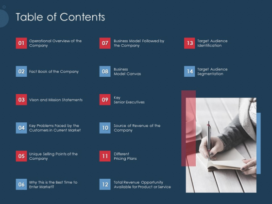 Pitch Deck To Gather Funding From Initial Capital Table Of Contents Business Icons PDF