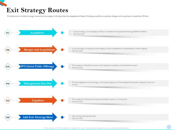 Pitch Presentation Raising Series C Funds Investment Company Exit Strategy Routes Guidelines PDF