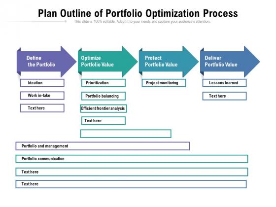 Plan Outline Of Portfolio Optimization Process Ppt PowerPoint Presentation File Formats PDF