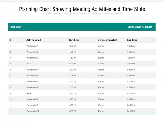 Planning Chart Showing Meeting Activities And Time Slots Ppt PowerPoint Presentation Slides Model PDF