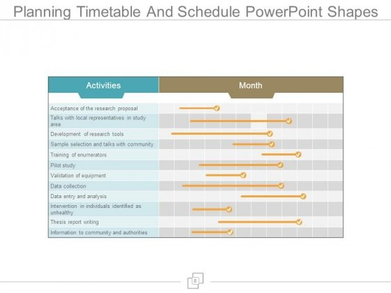 Planning Timetable And Schedule Powerpoint Shapes