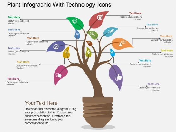 Plant Infographic With Technology Icons Powerpoint Template