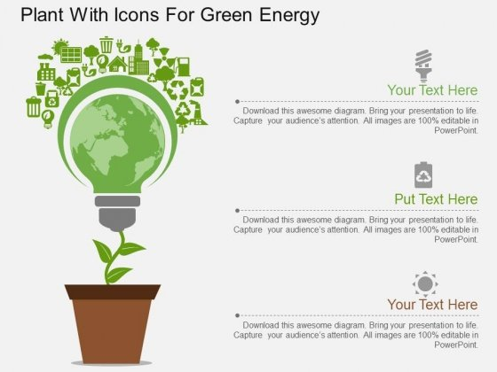 Plant With Icons For Green Energy Powerpoint Template Powerpoint
