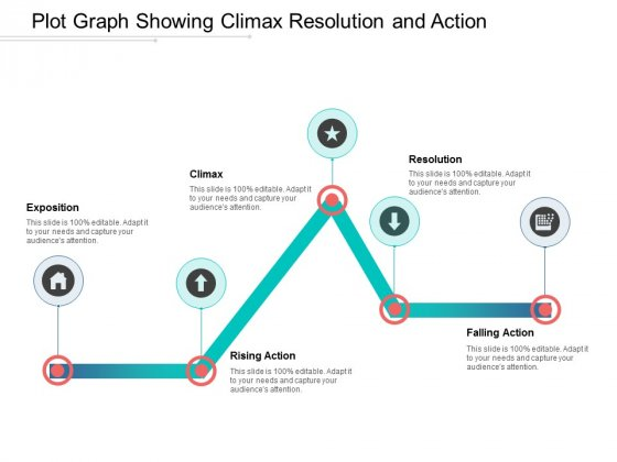 Plot Graph Showing Climax Resolution And Action Ppt Powerpoint Presentation Outline Themes